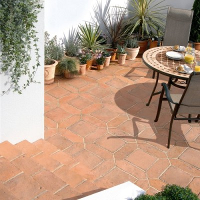 Bradstone Tile Paving Mellow Terracotta Diamond and Square